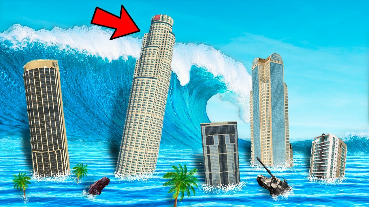 SOBREVIVE al TSUNAMI en GTA 5! 🌊😱 (Gta 5 Mods)