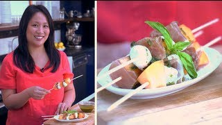 Easy Appetizer, Melon, Mozzarella, And Ham Skewers Recipe, Yum How To