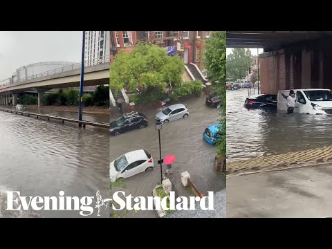 London streets are under water as storm batters the capital