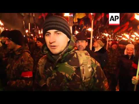 Thousands in torchlight march in honour of nationalist hero Stepan Bandera