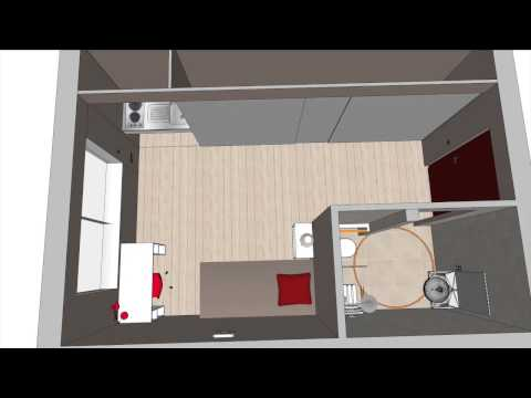 Universal Design Small Student apartments of 236 sq ft - 22m2