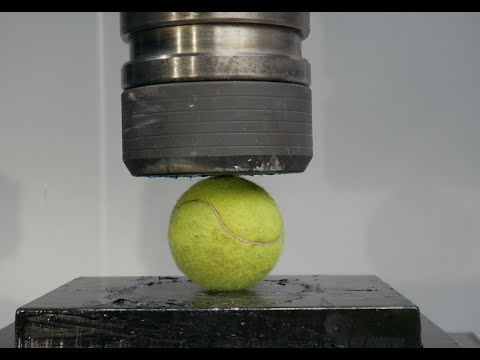 Crushing Tennis Ball with Hydraulic Press