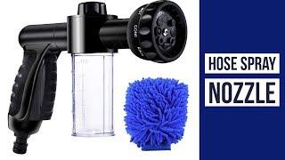 High Pressure 8 Way Spray ► EVILTO Garden Hose Nozzle ◄ Spray Hose With Built In Soap Dispenser