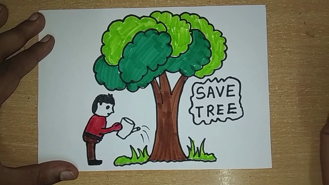 drawing tutorial save trees dont cut trees easy drawing