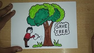 Drawing tutorial: save trees || dont cut trees || easy drawing || for kids | poster