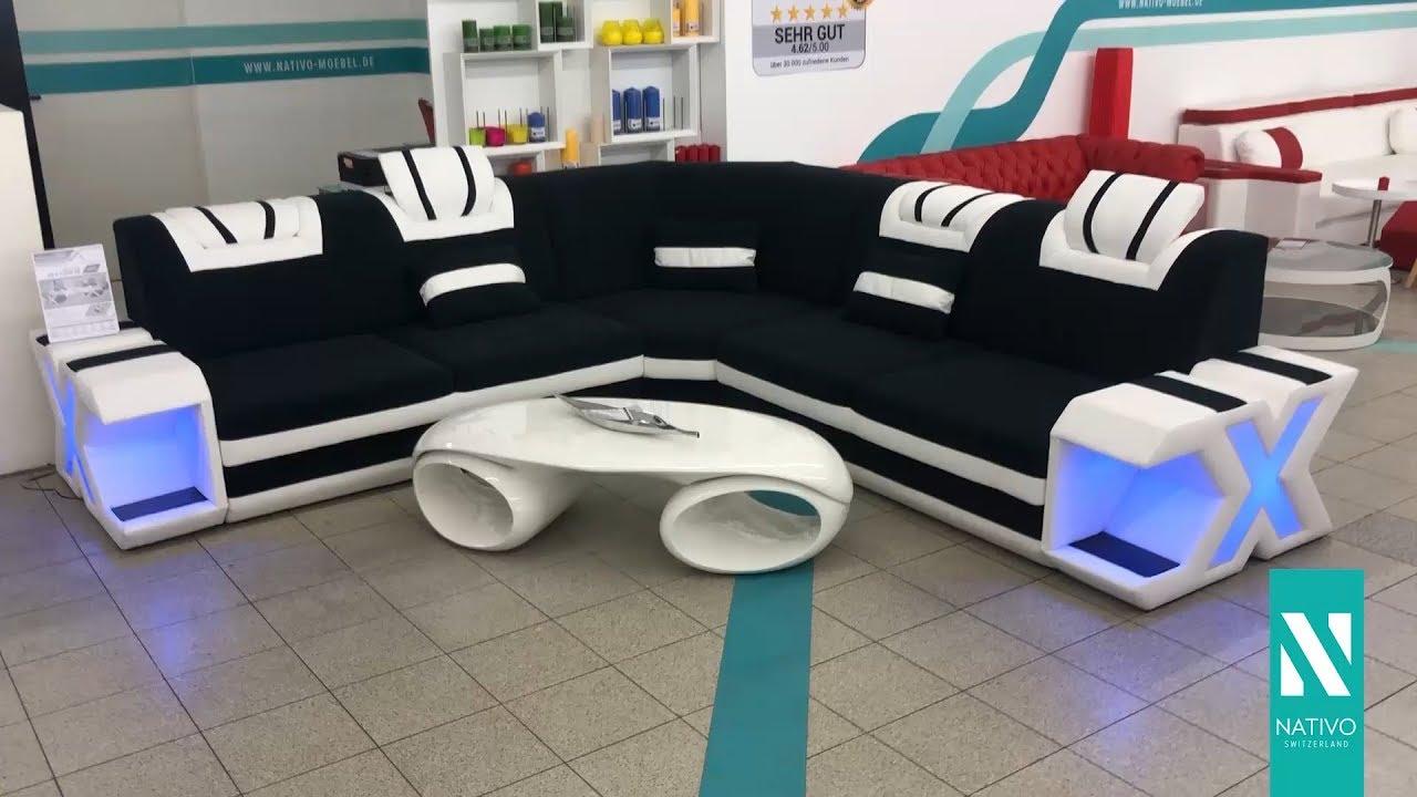 nativo mobilier france canape design mystique corner avec eclairage led et port usb