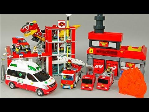 레고 소방본부 소방차 헬로 카봇 댄디 구급차 119 파워레인저 다이노포스 로보카폴리 Robocar poli Hello Carbot LEGO PowerRanger Dinoforce