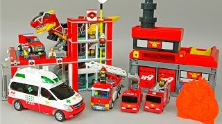 레고 소방본부 소방차 헬로 카봇 댄디 구급차 119 파워레인저 다이노포스 로보카폴리 | CarrieAndToys