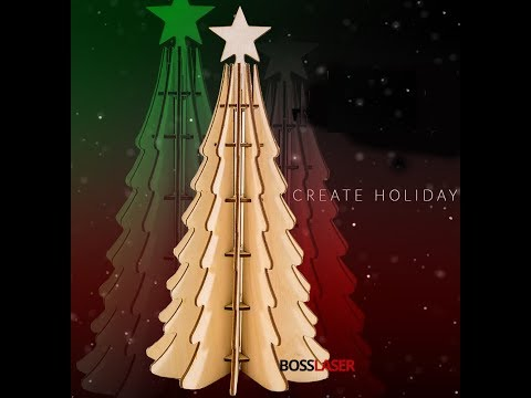 Laser Cut Wood (Birch) 3D Christmas Tree - Boss Laser