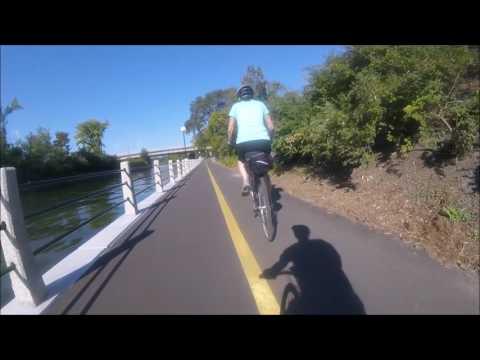 Biking along the Ottawa Rideau Canal Pathway