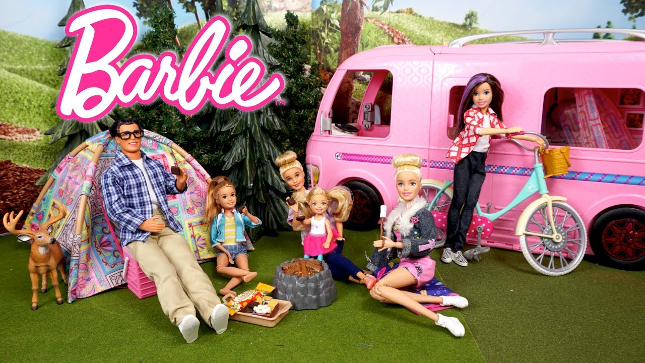 Barbie Family Camping Trip Routine - Dreamhouse Adventures Camper
