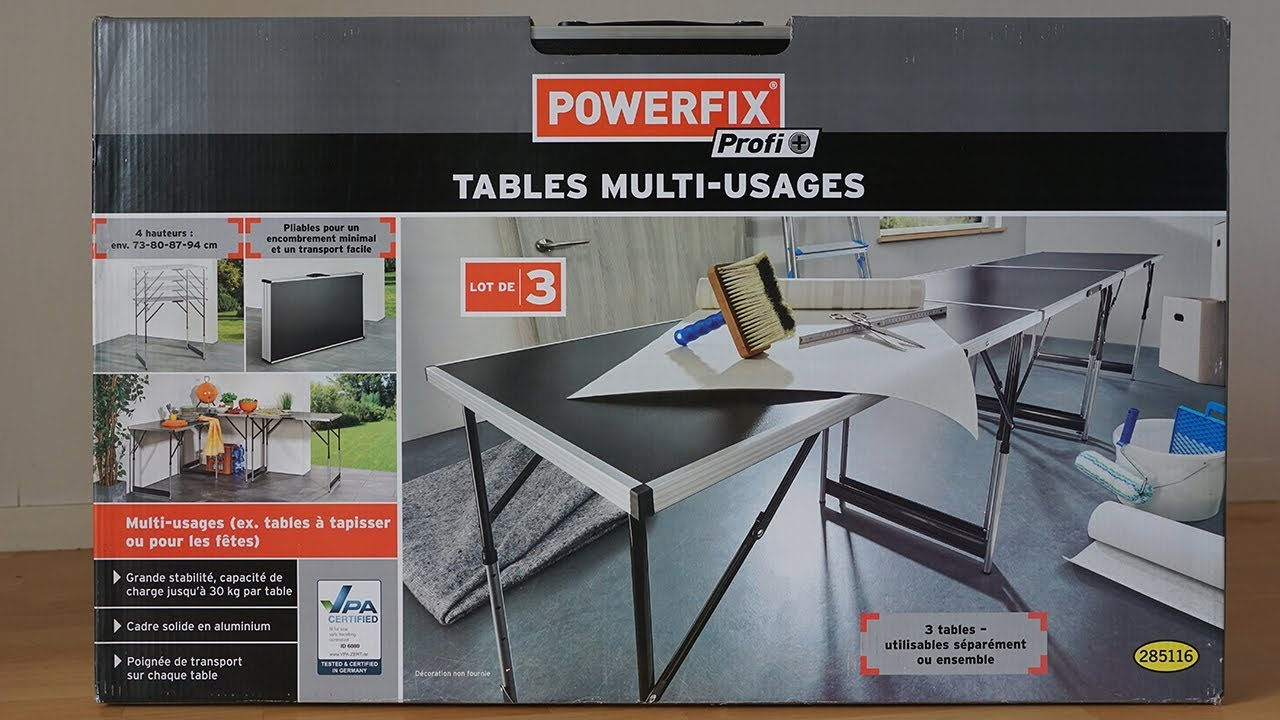 my unboxing d ballage 37 multifunction tables tables multifonctions powerfix lidl youtube. Black Bedroom Furniture Sets. Home Design Ideas