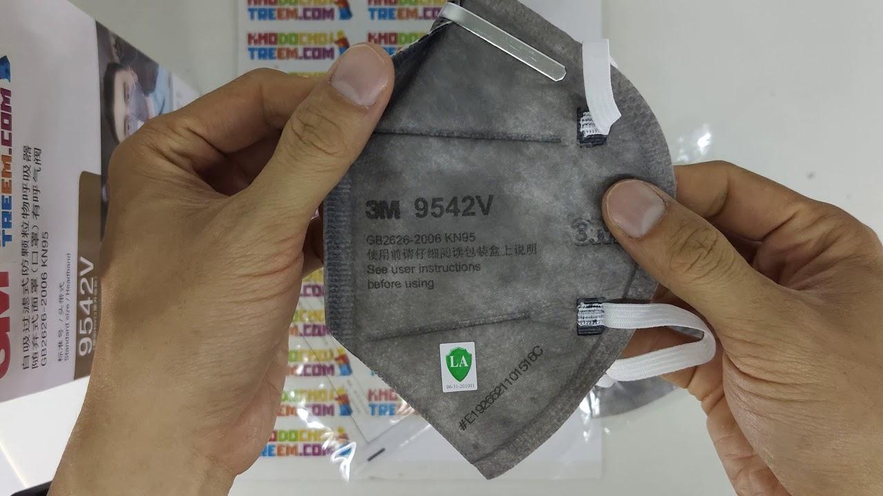 Khẩu trang 3M 9542V KN95 than hoạt tính đệm mũi van thở chun vải mềm đeo đầu giá sốc rẻ nhất