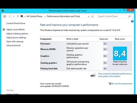 Check Windows Experience Index Scores in Windows 10