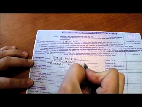 How To: Fill Out A New Jersey Vehicle Title When Buying Or Selling A Car
