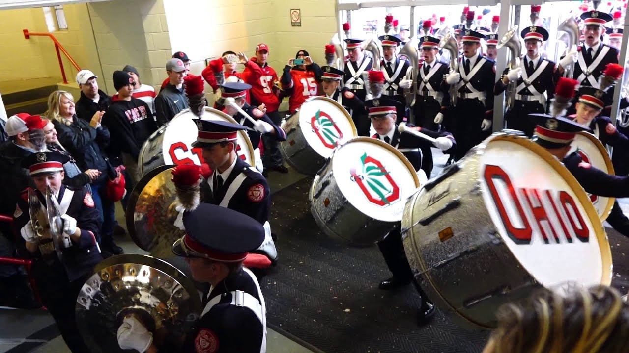 Ohio State Marching Band Percussion Show Into Skull Bass Drums 10 17 2015 OSU Vs PSU