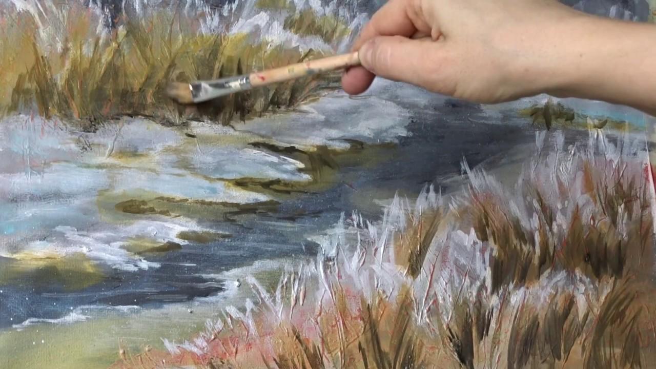 PAESAGGIO INVERNALE di oliowinter landscape oil lezione di pittura  YouTube