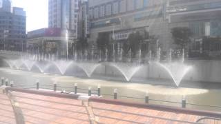music fountain in square,dancing fountain