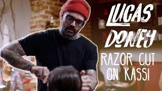 Lucas Doney demos a razor cut for Magnolia Avenue Salon