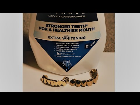 amazing gold teeth very clean with mouthwash game changer
