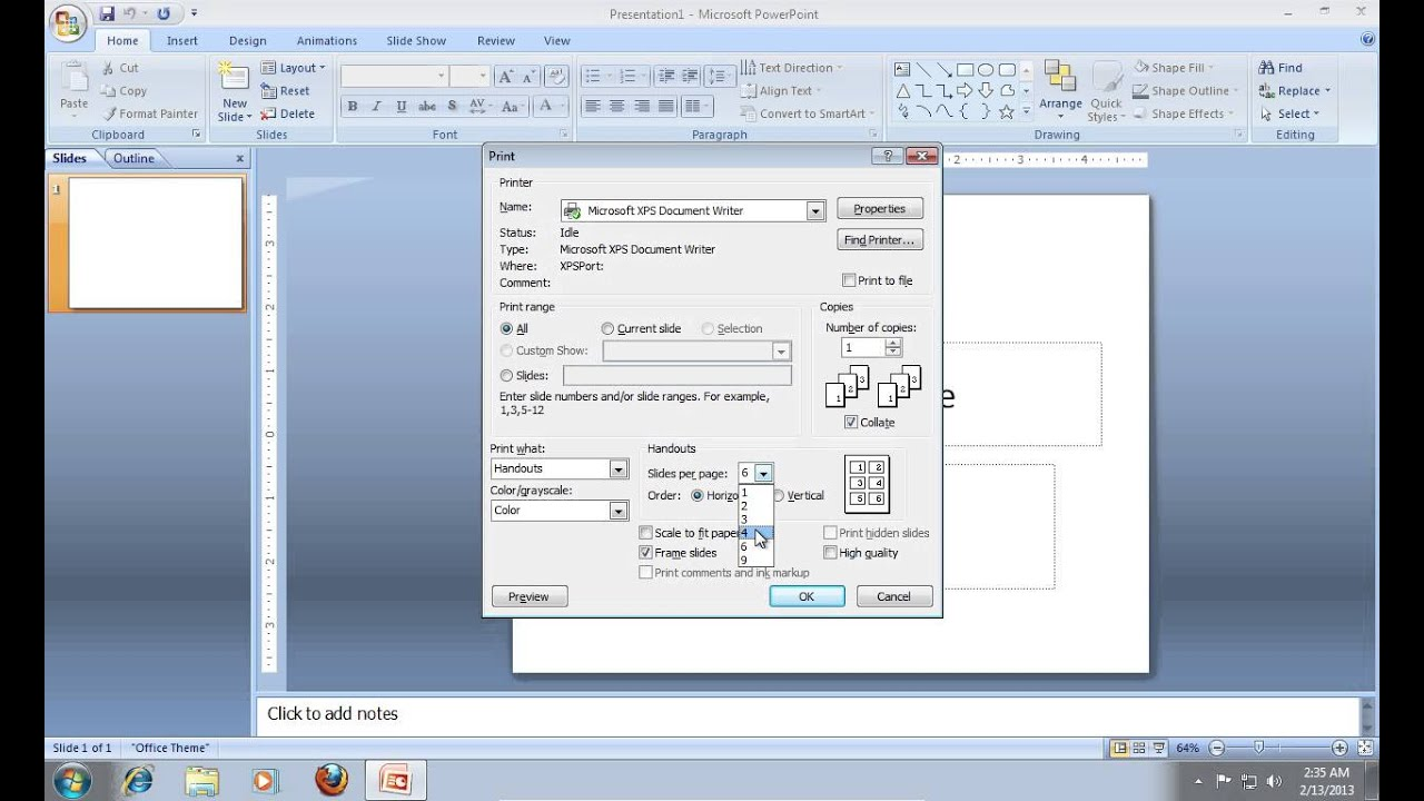 Page color doesnt print in word 2007 - How To Print A Powerpoint 2007 With Multiple Slides On One Page