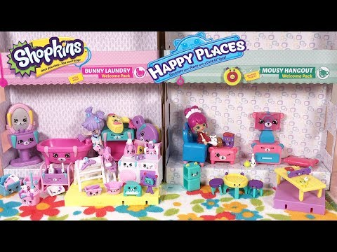 Shopkins Happy Places Mousy Hangout and Bunny Laundry Welcome Pack and Decorators Pack