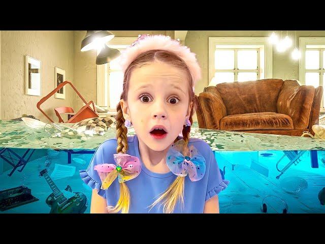 Nastya finge jugar juguetes de maquillaje con princesas