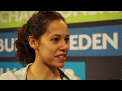 Angelica Bengtsson after press conference European Athletics Indoor Championships Gothenburg
