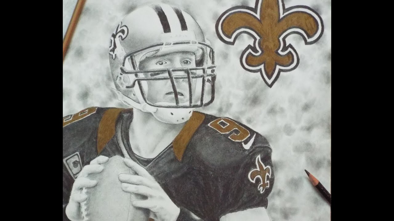 ZWOOKIEZ 41 Speed Drawing Drew Brees Of The Saints YouTube