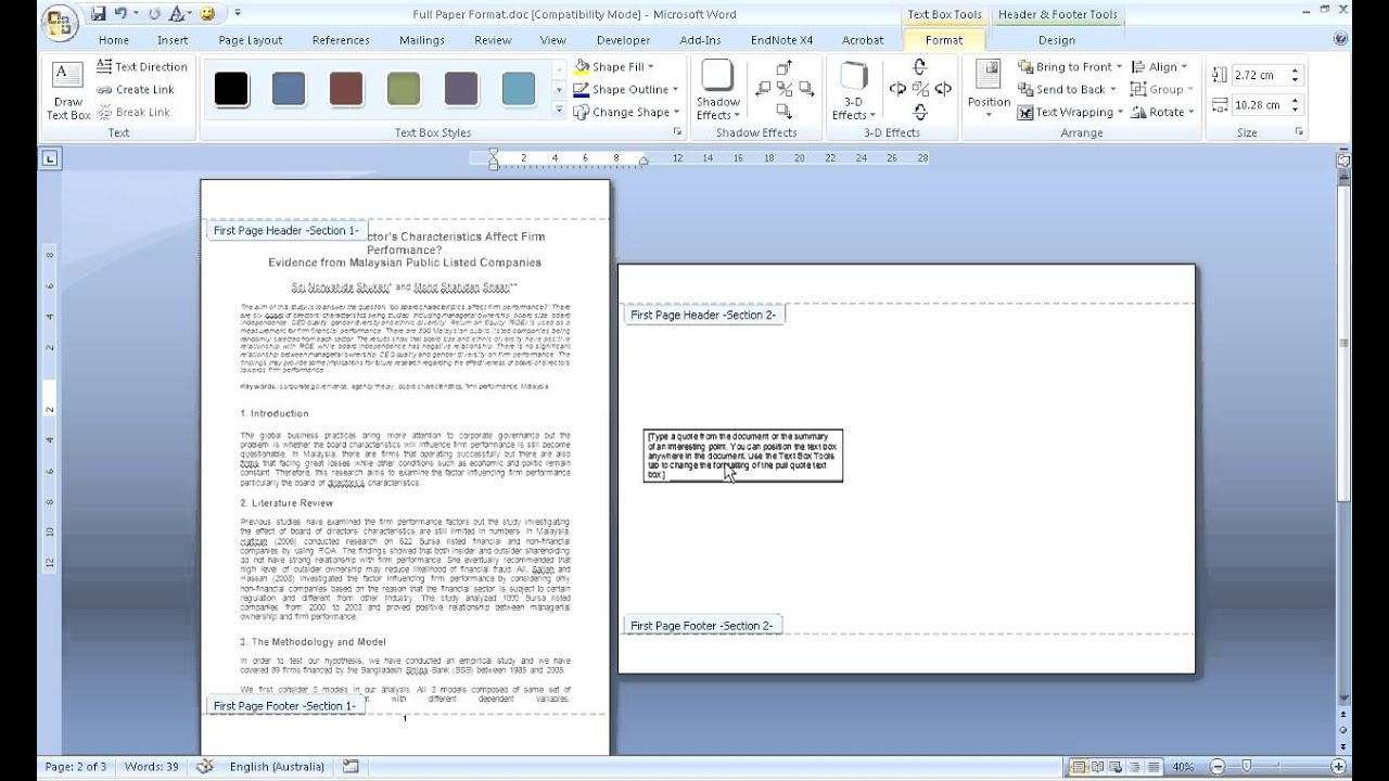 How To Change Orientation Of One Page In Word 2007