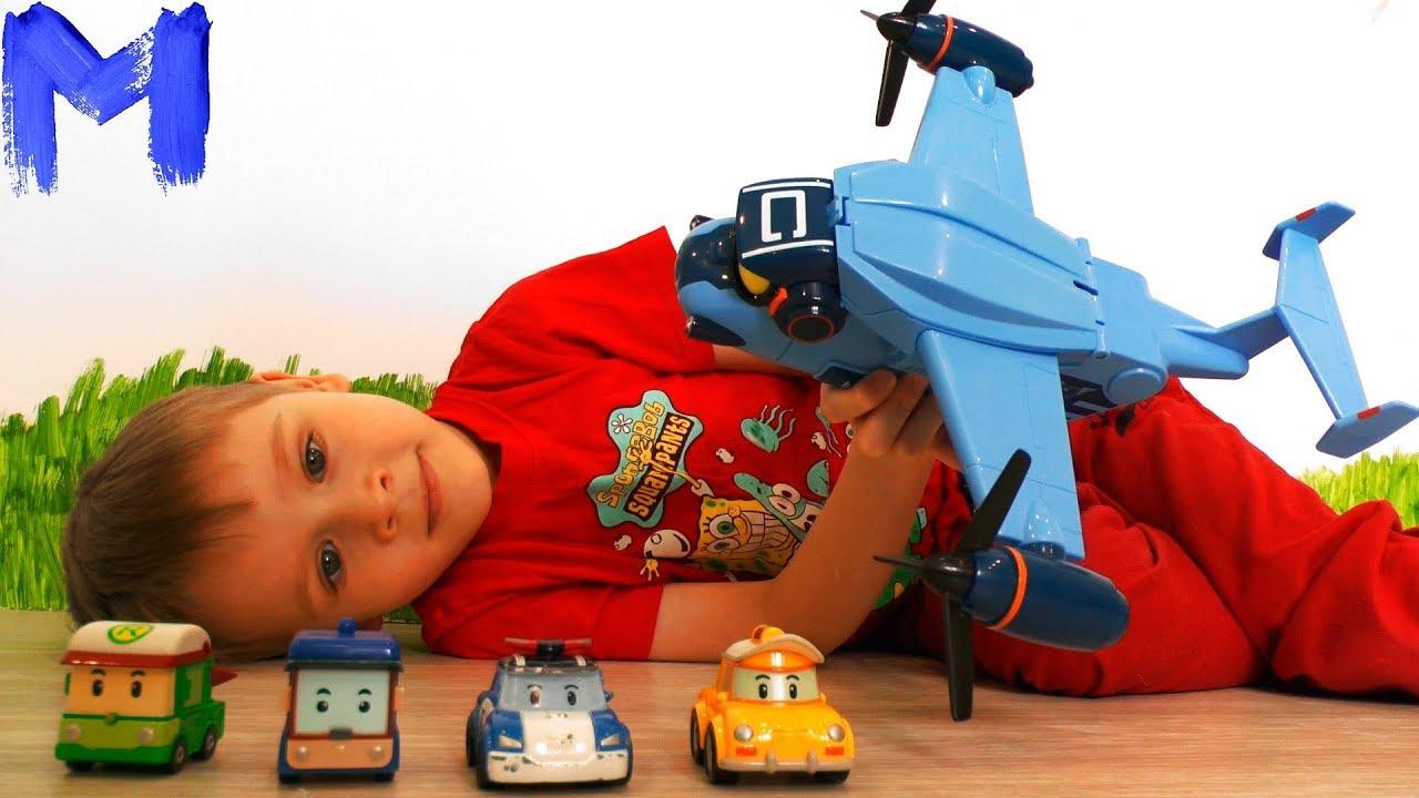 Машинки Поли робокар и самолет Кери  Распаковка игрушки из мультика Робокар поли