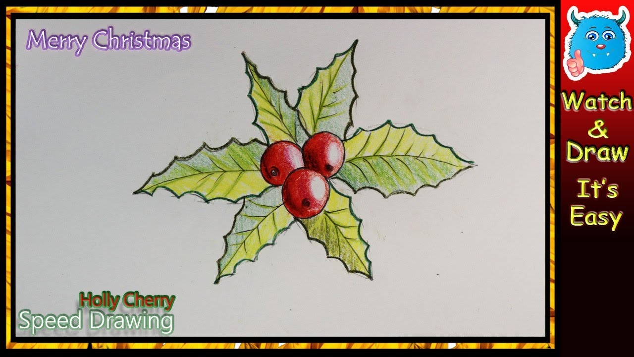 how to draw holly cherry for kids christmas drawing youtube