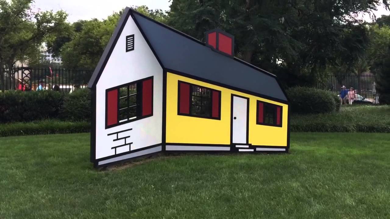 3D House Optical Illusion At Sculpture Garden, Washington