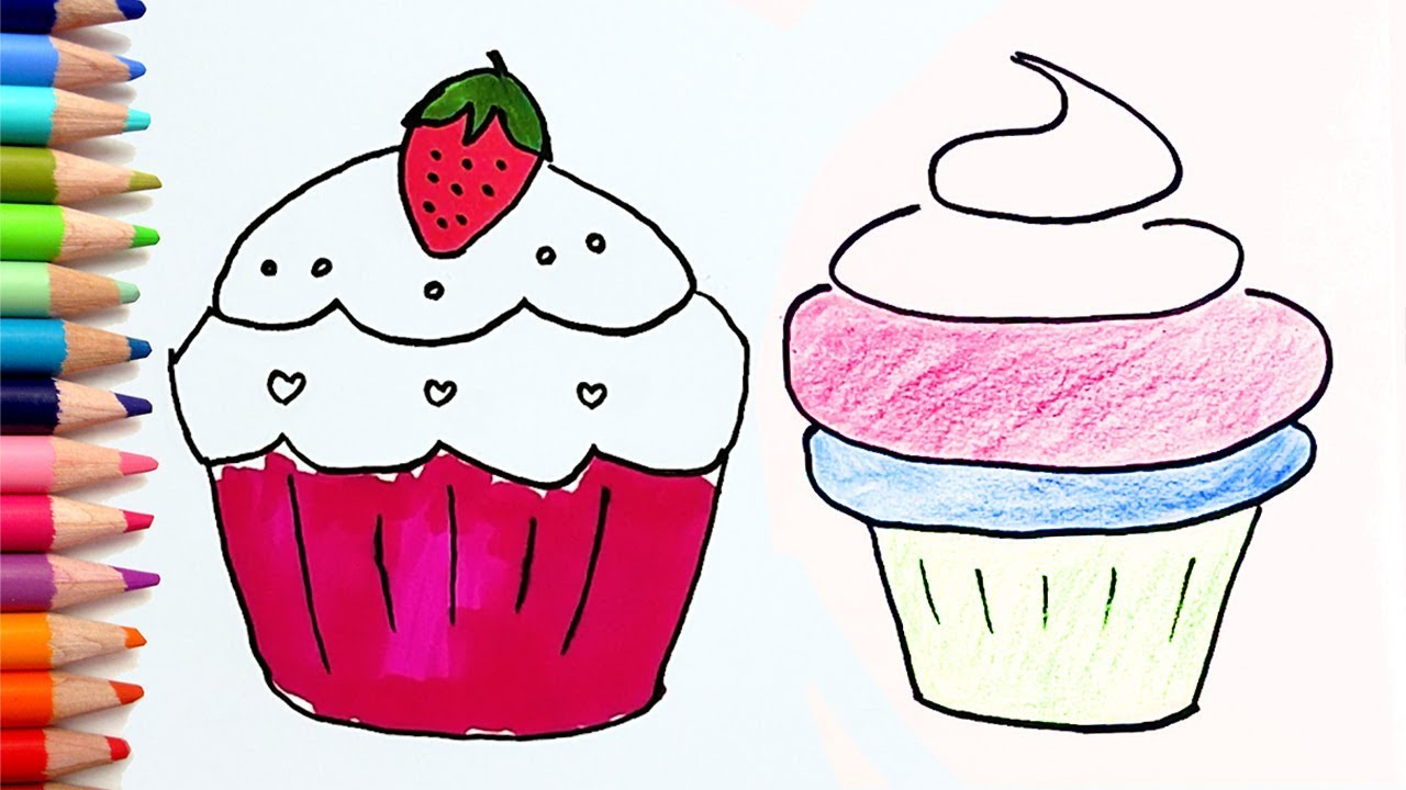 Coloring And Drawing Cupcake Muffin For Kids And Toddlers