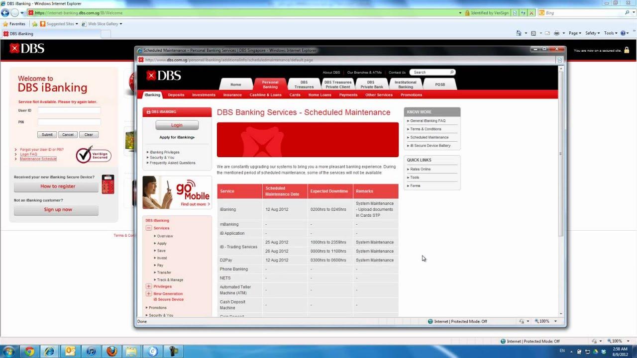 DBS (Singapore) Internet Banking Horrible Service, Aug 9, 2012 - YouTube