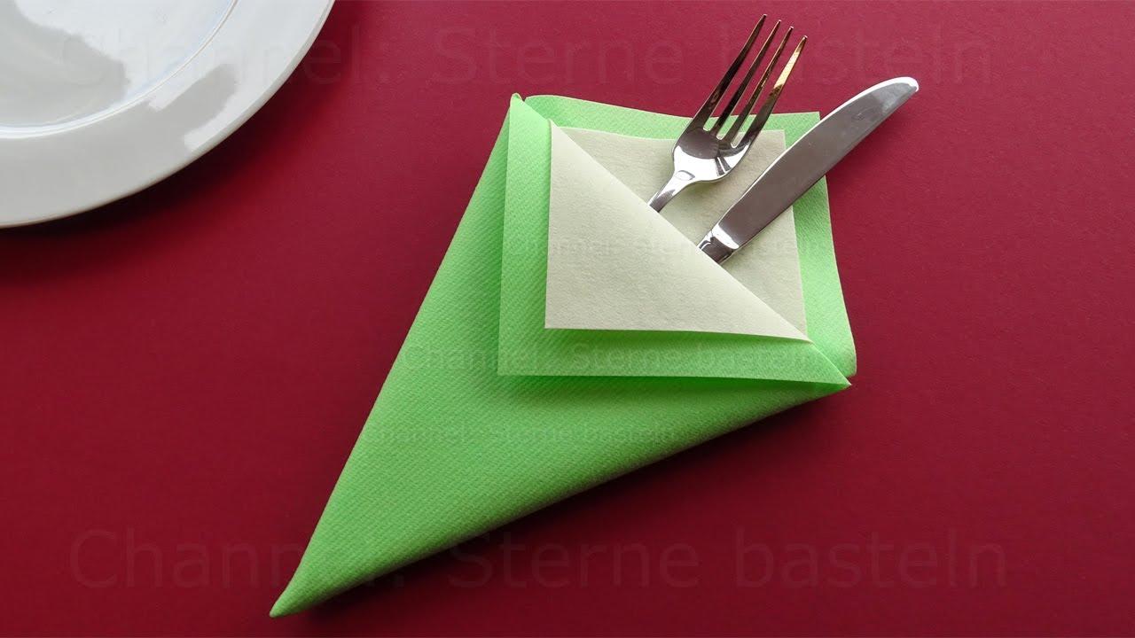Servietten falten. Anleitung Bestecktasche. Deko für Geburtstag, Weihnachten, Hochzeit selber machen