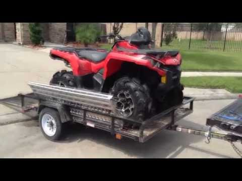 How To Load Unload Two ATV Fourwheeler from trailer to truck using ramp