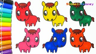 Learn Colors with Animals Baby Horse for Kids - Drawing Cartoons Coloring Books Painting
