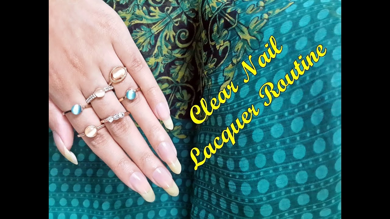 Clear nail lacquer routine on Bare Long Nails (Hand model) - YouTube