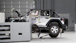 Jeep Wrangler Rolls Over During IIHS Crash Test