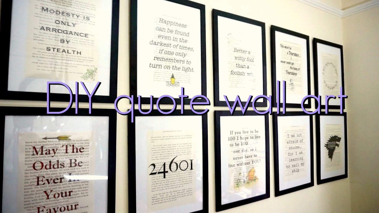 DIY book quote wall art - YouTube