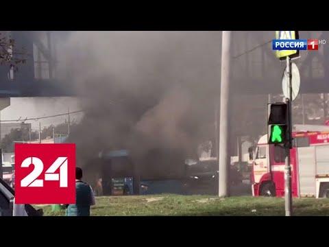 На шоссе Энтузиастов загорелся автобус с пассажирами - Россия 24