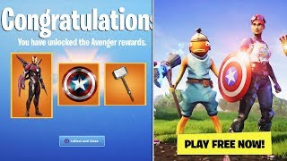 FORTNITE AVENGERS END GAME LTM GAMEPLAY! AVENGERS FREE REWARDS + CHALLENGES! (NEW AVENGERS SKINS)