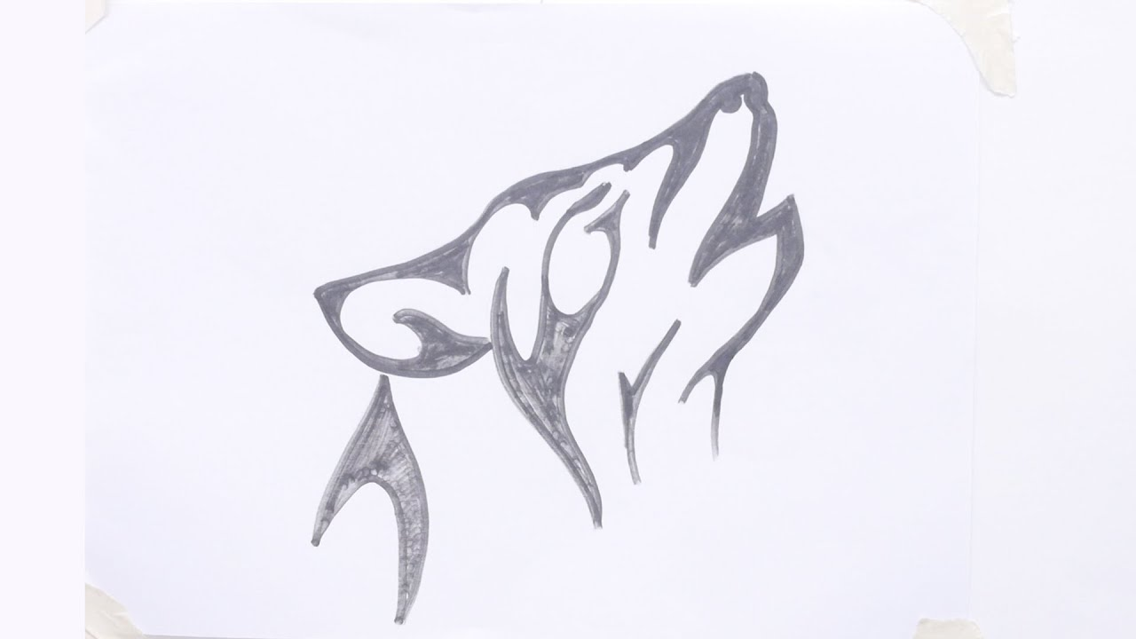 Uncategorized Easy Wolf To Draw how to draw a wolf head tribal tattoo 3 youtube