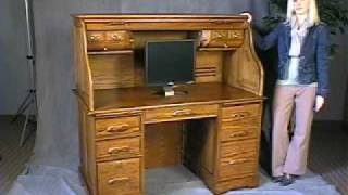 Oak Roll Top Computer Desk - In Stock - Free Shipping