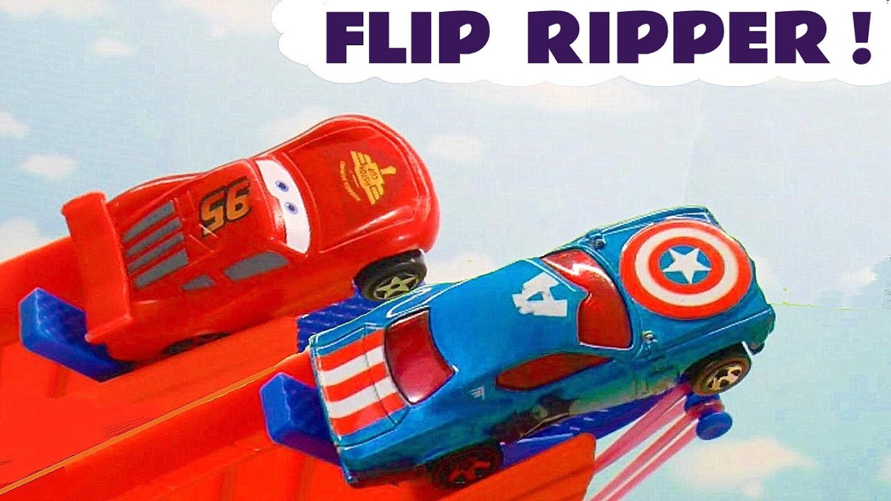 McQueen Flip Race Challenge with Hot wheels Marvel Avengers and Disney Cars plus the Funny Funlings