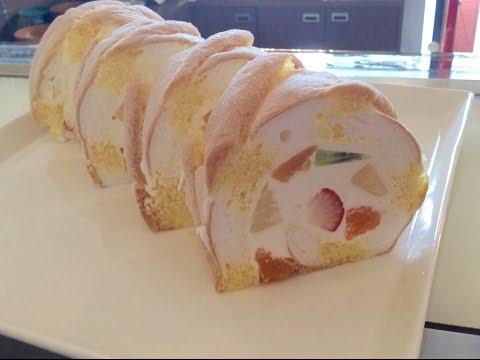 マチの洋菓子工房!#59  果実のロールケーキの作り方。How to make fruit roll cake.
