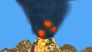 Volcano Eruption and Dense Smoke 3D Animation created in Blender