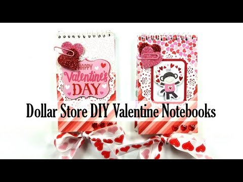 Dollar Store DIY Valentine Notebooks Polly's Paper Studio Tutorial Holiday Do it Yourself Process