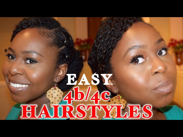 4 cute & QUICK natural hairstyles  How to tutorial  Short natural hair